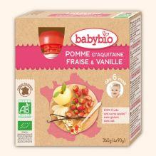 Gourdes de fruits : pomme, fraise et vanille - dès 6 mois - 4 x 90 g