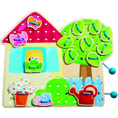 Jeu de laçage la cabane dans le jardin - à partir de 3 ans