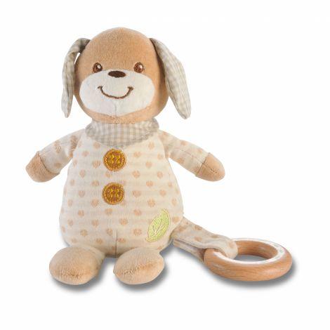 Peluche chien anneau en bois - dès la naissance *