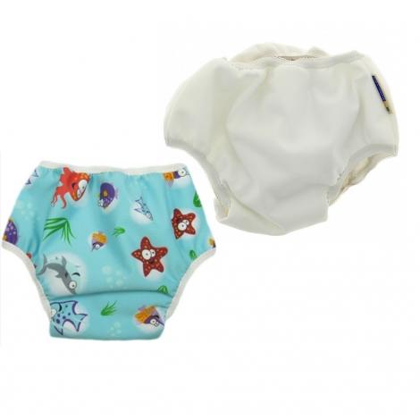 Lot de 2 culottes d'apprentissage de jour Large (18 à 22 kg) - Blanc et Océan *