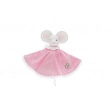 Doudou rond souris Meiya 27 cm avec tête en caoutchouc