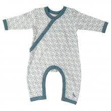 Pyjama blanc longues manches en coton BIO - Fleurs bleues