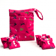 Kit de départ - serviettes hygiéniques lavables - Ultra - Rose oiseaux et libellules