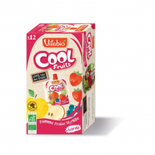 Cool Fruits - Pomme Fraise Myrtille - Lot de 12 Gourdes