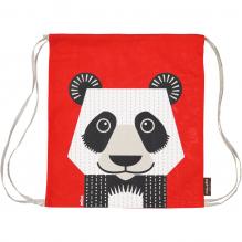 """Sac d'activité enfant en coton BIO """"Panda"""" ROUGE"""