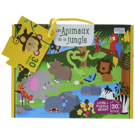 Les Animaux De La Jungle Puzzle Geant De 30 Pieces Livre A Partir De 3 Ans