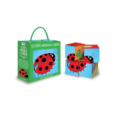 Cubes empilables et livre - les bébés animaux du jardin - à partir de 2 ans