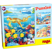 Puzzles 24 pièces - à la mer - 3 puzzles - à partir de 4 ans