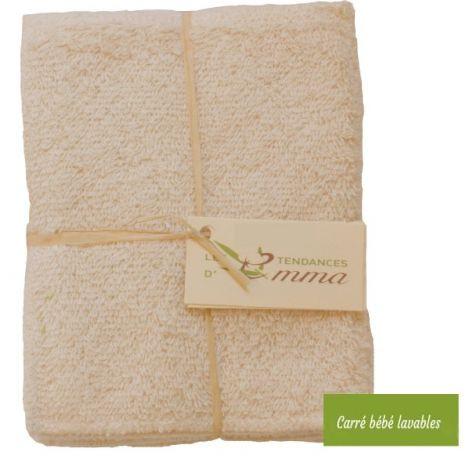 Lot de 5 carrés bébé lavables  - bambou, coton BIO, eucalyptus, molleton de coton BIO