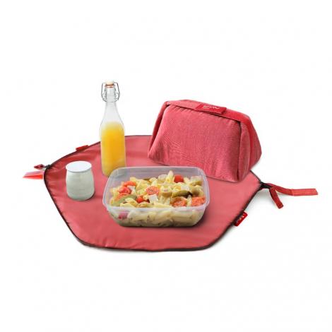 Pochette 2 en 1 - lunch bag et set de table - Eco Rouge