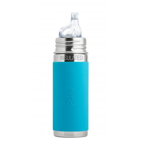 Biberon isotherme évolutif en inox - 260 ml - bec de transition en silicone - à partir de 6 mois - Turquoise