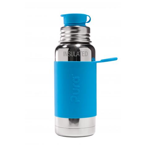 Gourde bouteille isotherme en inox - modèle sport - 475 ml - Turquoise