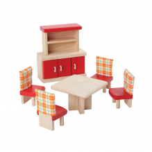 Salle à manger colorée en bois pour maison de poupée - à partir de 3 ans