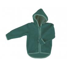 Gilet veste à capuche - Polaire de laine - Emeraude