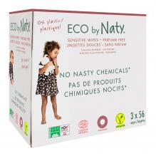 Lingettes douces pour bébé - Sans parfum 100% ECO - 3 x 56pcs