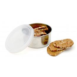 Boîte ronde en inox avec couvercle transparent - 280 ml