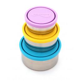 Trio de boîtes gigognes en inox azur