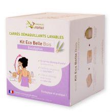 Kit Eco Belle en bois - 15 carrés démaquillants lavables  (Bambou, Coton BIO, Eucalyptus, Molleton de coton BIO)