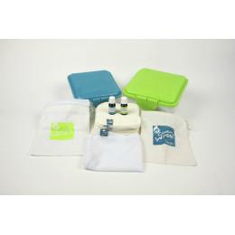 Kit tout-en-un lingettes lavables - bambou velours arc-en-ciel +1 HE mandarine / citron et 1 HE teatree