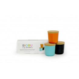 3 Bocaux en fibre de Bambou biodégradable avec couvercle en liège 24 cl ( Orange, Noir, Lagon ) Ø 8 x 8.5 cm