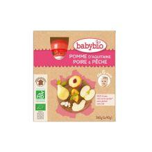 Gourdes de fruits: pomme d'Aquitaine, poire et pêche - dès 6 mois - 4 x 90 g