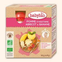 Gourdes de fruits : pomme, abricot et banane - dès 6 mois - 4 x 90 g
