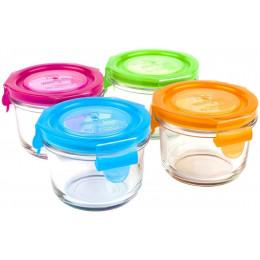 Set de petits pots ronds en verre trempé avec couvercle - 4 x 165 ml