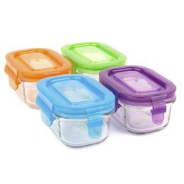 Set de petits pots rectangulaires en verre trempé avec couvercle - 4 x 150 ml