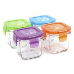 Set de petits pots carrés en verre trempé avec couvercle - 4 x 120 ml
