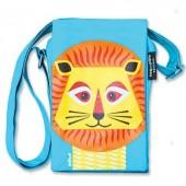 Pochette bleu/vert MIBO lion - 100% coton biologique *