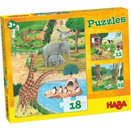 Set 3 puzzles - animaux - à partir de 3 ans