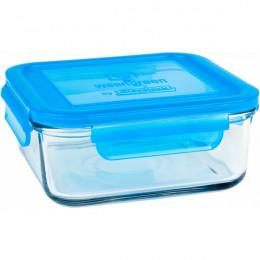 Récipient carré en verre trempé Bleu - 850 ml