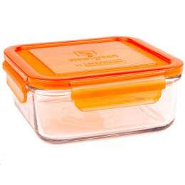 Récipient carré en verre trempé Orange - 900ml