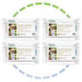 4 x Lingettes douces pour bébé - Légèrement parfumées 100% ECO - 56pcs