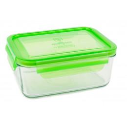 Plat repas rectangulaire en verre trempé avec couvercle - 1090 ml