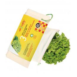 3 sacs réutilisables en coton BIO Légumes volumineux Taille XL