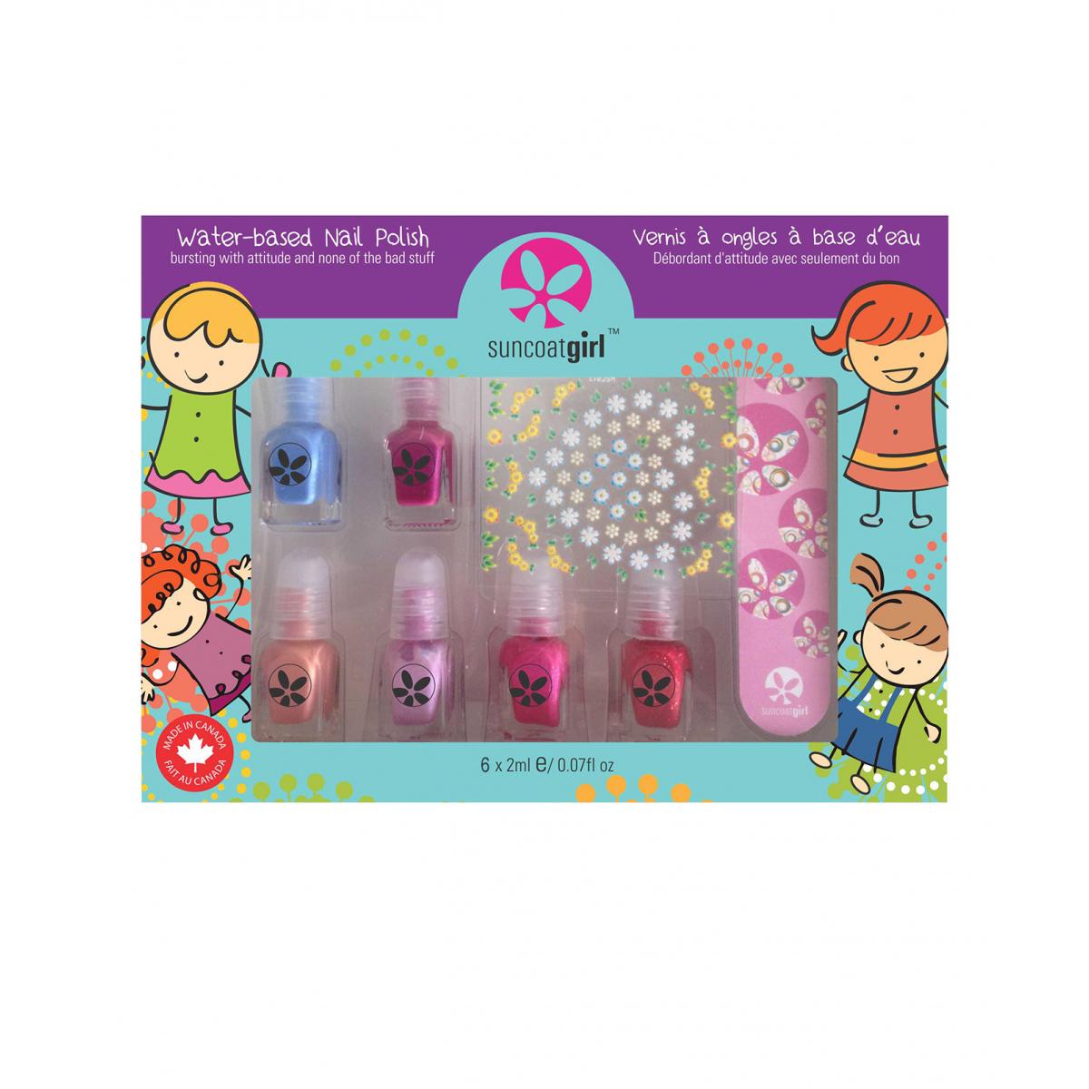 set de 6 minis vernis ongles pour enfant et accessoires partir de 3 ans sebio