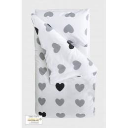 Housse de couette enfant 100 x 140 cm + 1 taie 40 x 60 cm Coton Bio Coeurs gris
