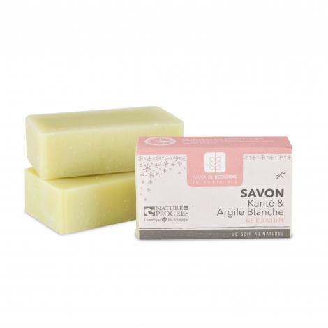 Savon Karité et Argile blanche Géranium 100 gr