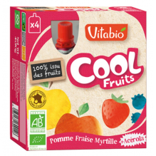 Cool Fruits - Pomme Fraise Myrtille - Lot de 4 Gourdes
