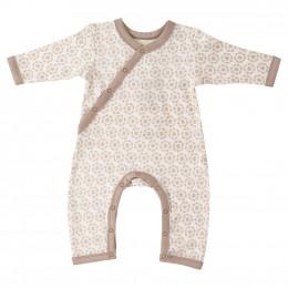 Pyjama blanc longues manches en coton BIO - Fleurs taupe