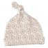 Bonnet blanc en coton BIO Fleurs taupe