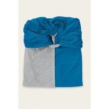 Petite écharpe sans noeud: gris chiné / bleu canard SANS PAD
