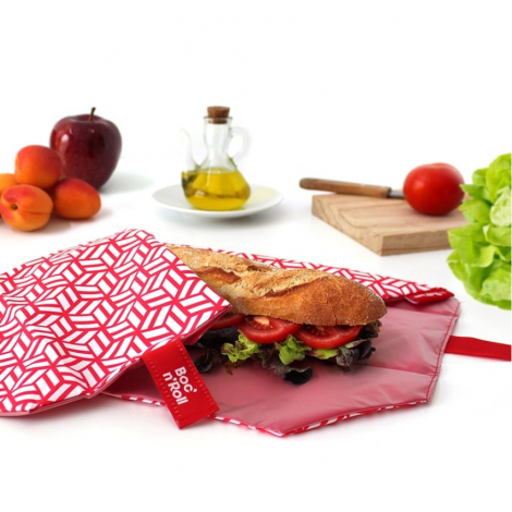Pochette sandwich lavable et réutilisable Boc'n'Roll - Tiles Red