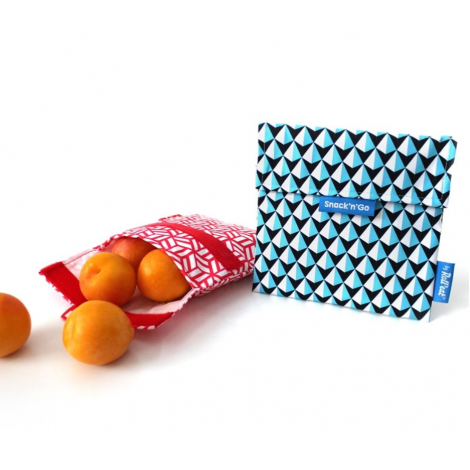 Pochette casse-croûtes lavable et réutilisable Snack'n'Go - Tiles Blue