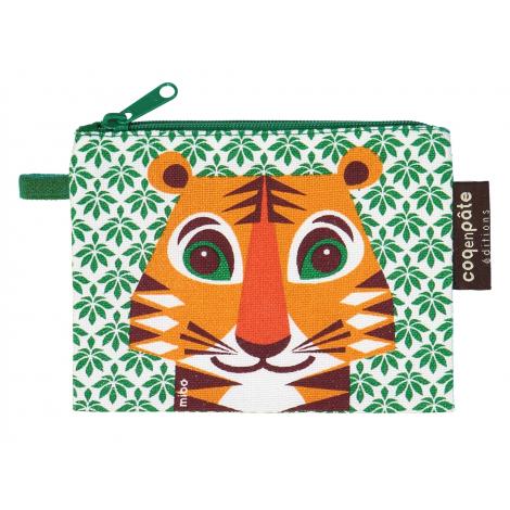 "Mini trousse - porte monnaie en coton BIO ""Tigre"""