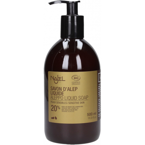 Savon d'Alep liquide 20% huile de baies de Laurier Bio 500 ml