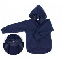 Gilet à capuche en laine douce Bio - Bleu chiné