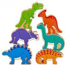 Pyramide des dinosaures en bois - lot de 6 - à partir de 12 mois