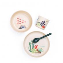 Set de vaisselle enfant en fibre de Bambou biodégradable - Poissons